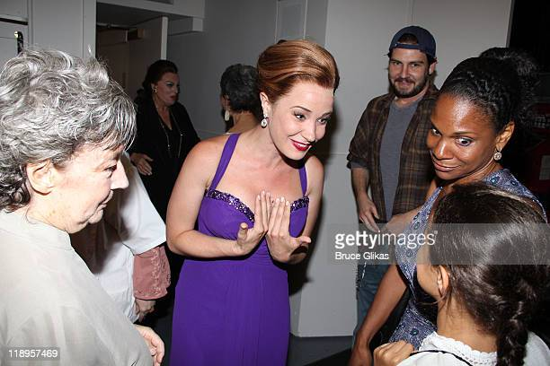Zoe Caldwell Sierra Boggess and Audra McDonald and daughter Zoe Madeline Donovan chat backstage at the hit play Master Class on Broadway at The...