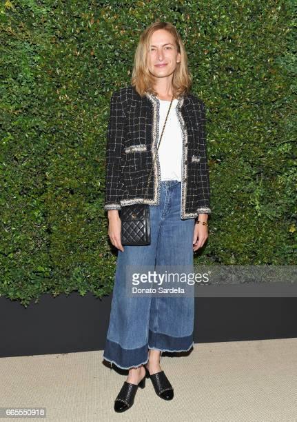 Zoe Cassavettes attends Caroline De Maigret and Pharrell Williams dinner in celebration of CHANEL's Gabrielle Bag at Giorgio Baldi on April 6 2017 in...