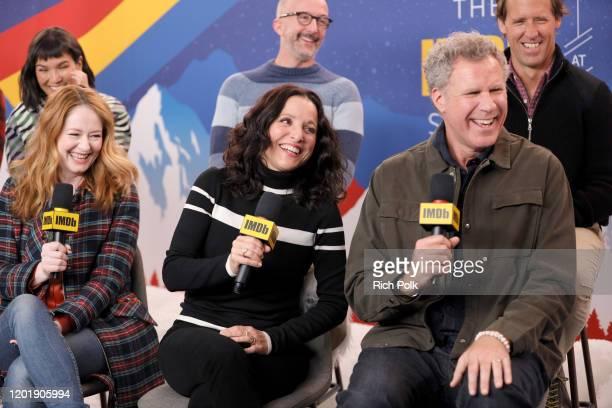 Zoe Chao Miranda Otto Julia LouisDreyfus Jim Rash Will Ferrell and Nat Faxon of 'Downhill' attend the IMDb Studio at Acura Festival Village on...