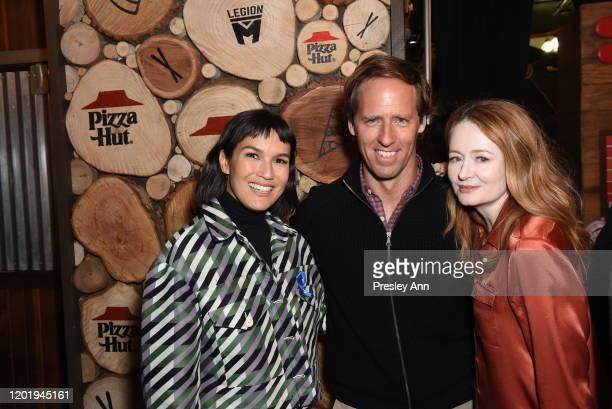 Zoe Chao Nat Faxon and Miranda Otto of 'Downhill' attend the Pizza Hut x Legion M Lounge during Sundance Film Festival on January 25 2020 in Park...