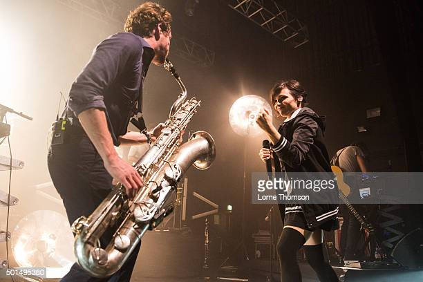 Zoe Colotis of Caravan Palace performs at The Forum on December 15, 2015 in London, England.