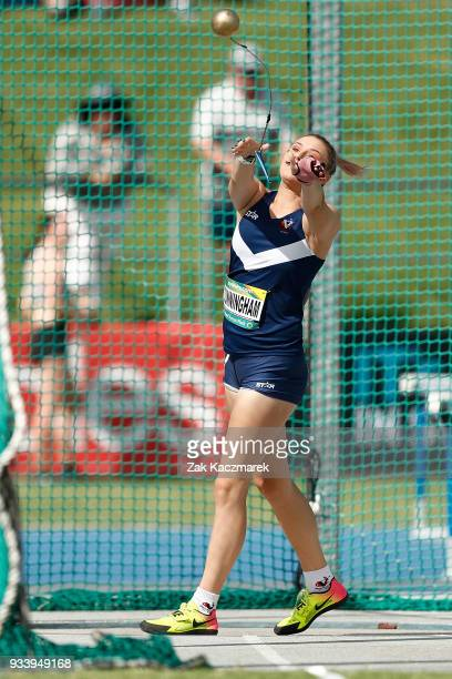 Zoe Cunningham of Victoria competes in the Women's Under 20 Hammer throw Final during day four of the Australian Junior Athletics Championships at...