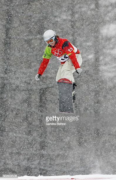 Zoe Gillings of Great Britain competes in the Womens Snowboard Cross Qualifying on Day 7 of the 2006 Turin Winter Olympic Games on February 17 2006...