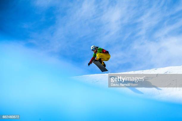 Zoe Gillings-Brier of Great Britain warms up prior to the Women's Snowcross Final rounds on day five of the FIS Freestyle Ski & Snowboard World...