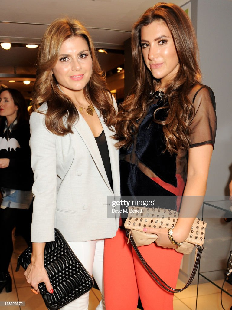 Zoe Hardman (L) and Gabriella Ellis attend the Panasonic Technics 'Shop To The Beat' Party hosted by George Lamb at French Connection, Oxford Circus, on March 13, 2013 in London, England.