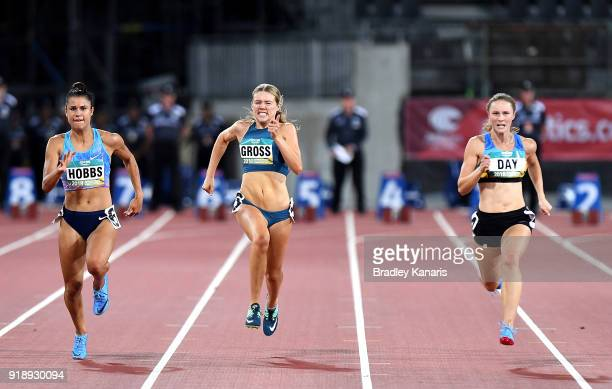 Zoe Hobbs Mia Gross and Riley Day compete in the final of the Women's 100m event during the Australian Athletics Championships Nomination Trials at...