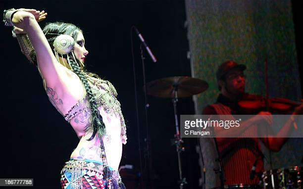 Zoe Jakes and David Satori of Beats Antique perform during the 2013 Voodoo Music + Arts Experience at City Park on November 3, 2013 in New Orleans,...
