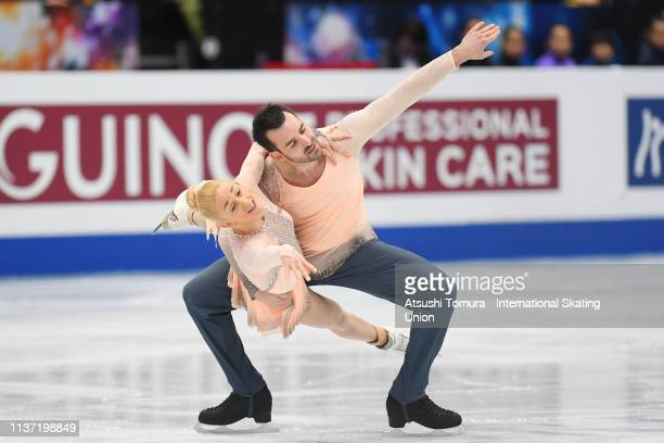 Zoe Jones and Christopher Boyadji of Great Britain compete in the Pairs free skating during day 2 of the ISU World Figure Skating Championships 2019...