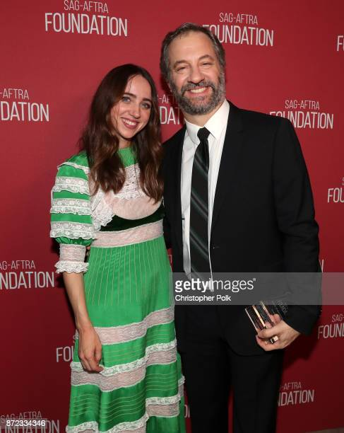Zoe Kazan and Patron of the Artists Award recipient Judd Apatow attend the SAGAFTRA Foundation Patron of the Artists Awards 2017 at the Wallis...