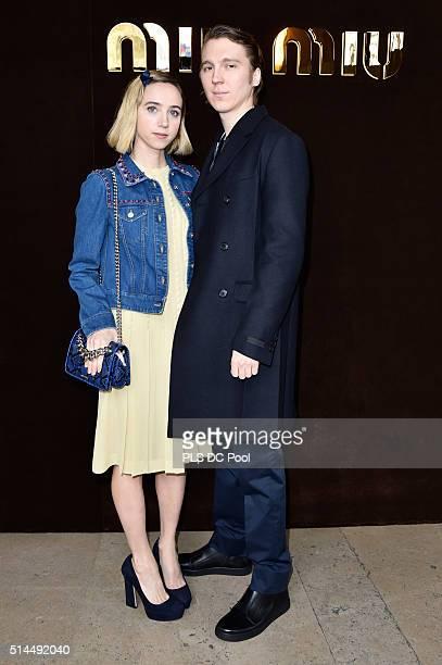 Zoe Kazan and Paul Dano attend the Miu Miu show as part of the Paris Fashion Week Womenswear Fall / Winter 2016 on March 9 2016 in Paris France