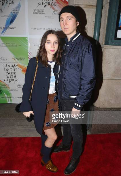Zoe Kazan and Paul Dano pose at the opening night for 'Sunday in The Park With George' on Broadway at The Hudson Theater on February 22 2017 in New...