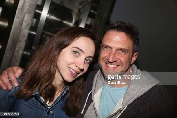 Zoe Kazan and Raul Esparza pose at An American Daughter Benefit Reading at The Tony Kiser Second Stage Theatre on May 8 2017 in New York City