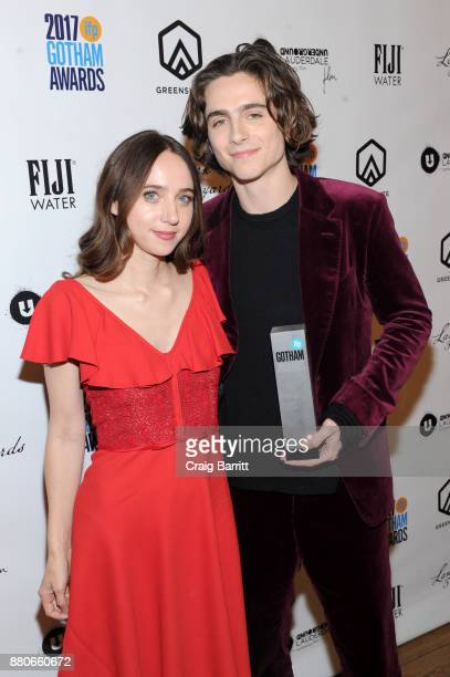Zoe Kazan and Timothée Chalamet attend The 2017 IFP Gotham Independent Film Awards cosponsored by Landmark Vineyards at Cipriani Wall Street on...