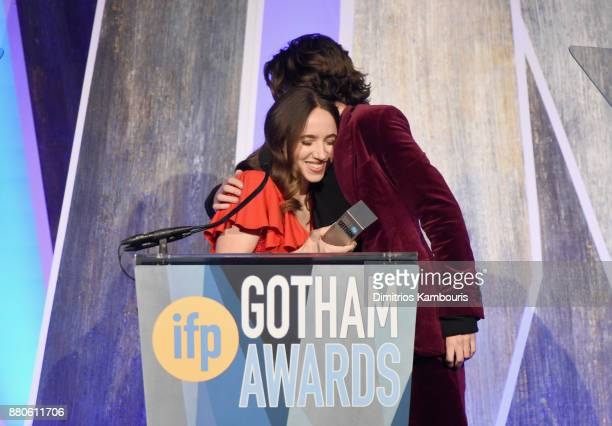 Zoe Kazan and Timothée Chalamet embrace onstage during IFP's 27th Annual Gotham Independent Film Awards on November 27 2017 in New York City
