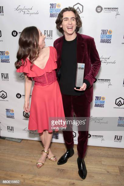 Zoe Kazan and Timothée Chalamet pose backsstage during IFP's 27th Annual Gotham Independent Film Awards on November 27 2017 in New York City