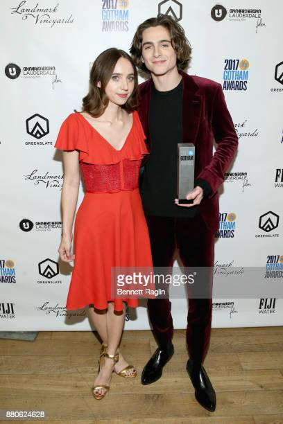 Zoe Kazan and Timothée Chalamet pose with his Breakthrough Actor award at the 2017 Gotham Awards sponsored by Greater Ft Lauderdale Tourism at...