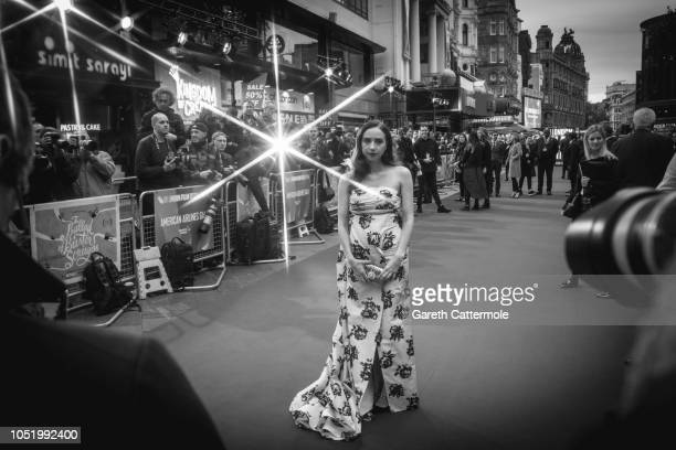 Zoe Kazan attends the UK Premiere of 'The Ballad of Buster Scruggs' the American Airlines Gala during the 62nd BFI London Film Festival on October 12...