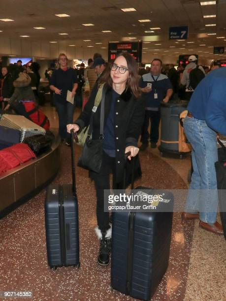 Zoe Kazan is seen at Salt Lake City International Airport on January 18 2018 in Park City Utah