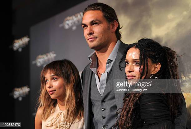 Zoe Kravitz actors Jason Momoa and Lisa Bonet arrive at the premiere of Lionsgate Films' Conan The Barbarian on August 11 2011 in Los Angeles...