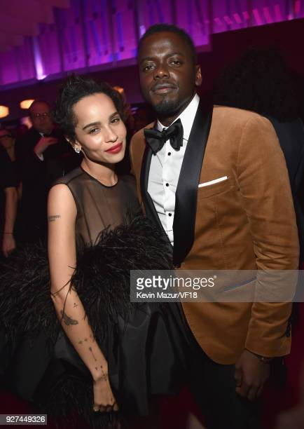 Zoe Kravitz and Daniel Kaluuya attend the 2018 Vanity Fair Oscar Party hosted by Radhika Jones at Wallis Annenberg Center for the Performing Arts on...