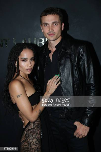Zoe Kravitz and her companion actor Karl Glusman attend the Saint Laurent Womenswear Spring/Summer 2020 show as part of Paris Fashion Week on...