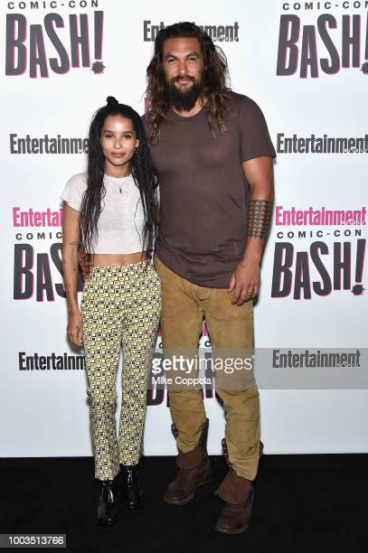 Zoe Kravitz and Jason Momoa attend Entertainment Weekly's ComicCon Bash held at FLOAT Hard Rock Hotel San Diego on July 21 2018 in San Diego...