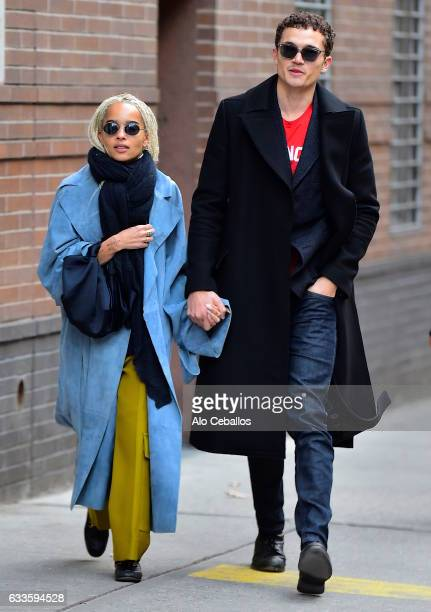 Zoe Kravitz and Karl Glusman are seen in Soho on February 2, 2017 in New York City.