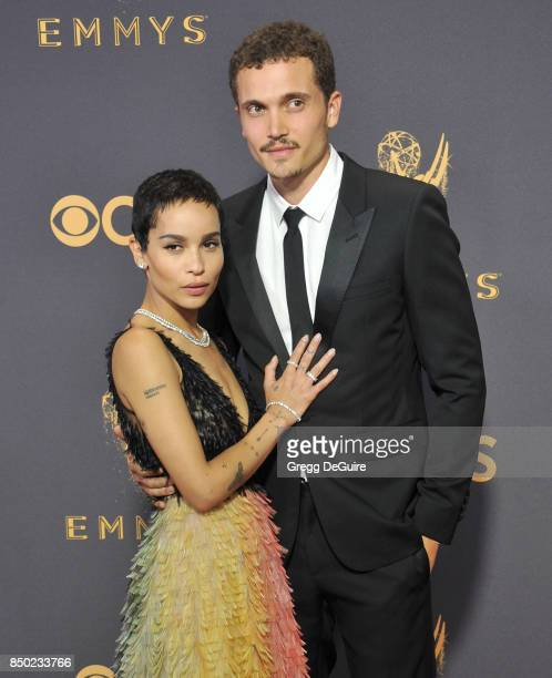 Zoe Kravitz and Karl Glusman arrive at the 69th Annual Primetime Emmy Awards at Microsoft Theater on September 17, 2017 in Los Angeles, California.