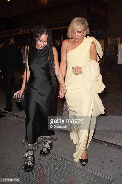 Zoe Kravitz and Kristen Wiig are seen arriving at the Diamond Horseshoe on May 4 2015 in New York City