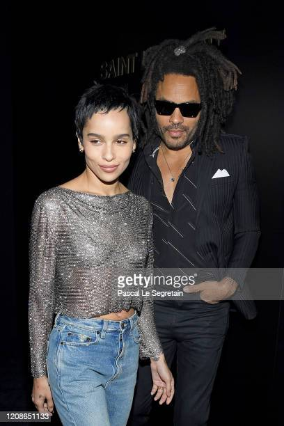 Zoe Kravitz and Lenny Kravitz attend the Saint Laurent show as part of the Paris Fashion Week Womenswear Fall/Winter 2020/2021 on February 25 2020 in...