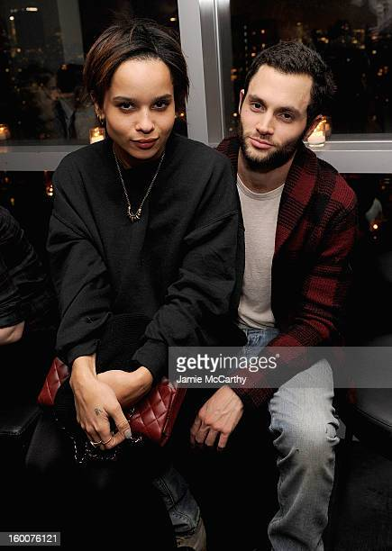 Zoe Kravitz and Penn Badgley attend the Cinema Society Artistry screening of Warm Bodies after party at the Hotel on Rivington on January 25 2013 in...