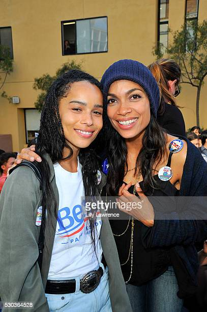 Zoe Kravitz and Rosario Dawson attend Stars Rock The Campus 4 BERNIE on May 10 2016 in Los Angeles California