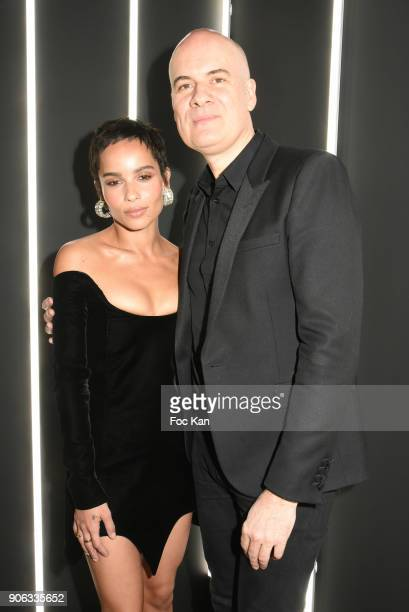 Zoe Kravitz and Stephan Bezy GD of L'Oreal attend YSL Beauty Party During Paris Fashion Week Menswear Fall/Winter 20182019 on January 17 2018 in...