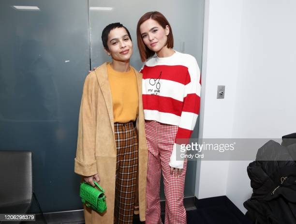 Zoe Kravitz and Zoey Deutch run into each other at SiriusXM Studios on February 14 2020 in New York City