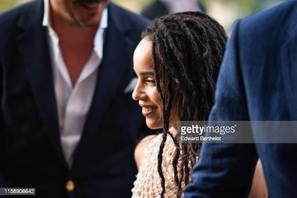 Zoe Kravitz arrives at Laperouse restaurant where a prewedding dinner for Zoe Kravitz and Karl Glusma is to be held on June 28 2019 in Paris France