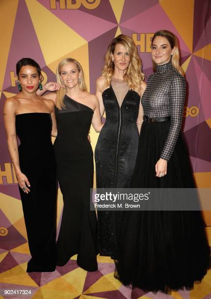 Zoe Kravitz Reese Witherspoon Laura Dern and Shailene Woodley attend HBO's Official Golden Globe Awards After Party at Circa 55 Restaurant on January...