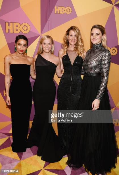 Zoe Kravitz Reese Witherspoon Laura Dern and Shailene Woodley of 'Big Little Lies' attend HBO's Official Golden Globe Awards After Party at Circa 55...