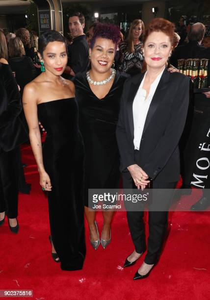 Zoe Kravitz Rosa Clemente and Susan Sarandon celebrate The 75th Annual Golden Globe Awards with Moet Chandon at The Beverly Hilton Hotel on January 7...