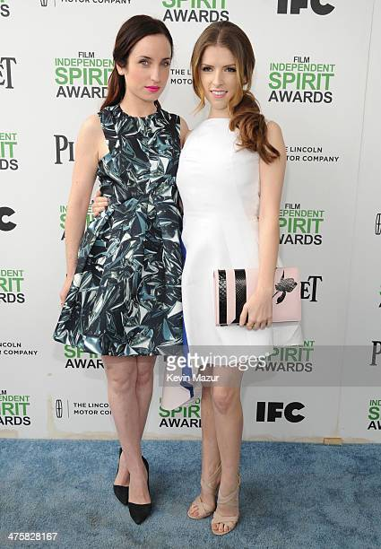 Zoe Lister Jones and Anna Kendrick attends the 2014 Film Independent Spirit Awards at Santa Monica Beach on March 1 2014 in Santa Monica California