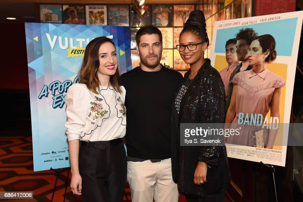 Zoe ListerJones Adam Pally and Joy Bryant attend the Band Aid screening at Alamo Drafthouse Theater during Vulture Festival on May 21 2017 in New...