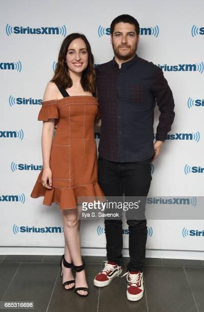 Zoe Lister-Jones and Adam Pally visit the SiriusXM Studios on May 19, 2017 in New York City.