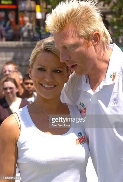 Zoe Lucker and Boris Becker during Ariel Celebrity Tennis Match June 13 2005 at Trafalgar Square in London Great Britain