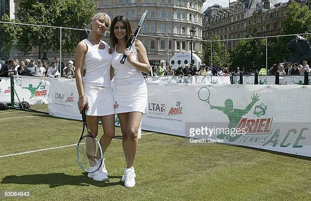 Zoe Lucker and Laila Rouass attend the Ariel Tennis Ace which aimed to find Britain's next young tennis star in Trafalgar Square on June 13 2005 in...