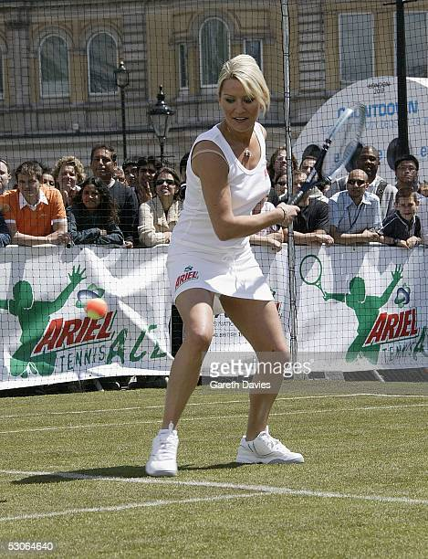 Zoe Lucker attends the Ariel Tennis Ace which aimed to find Britain's next young tennis star in Trafalgar Square on June 13 2005 in London It...