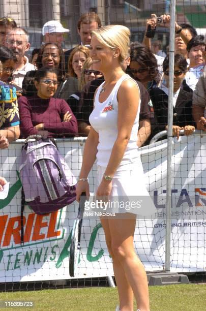 Zoe Lucker during Ariel Celebrity Tennis Match June 13 2005 at Trafalgar Square in London Great Britain