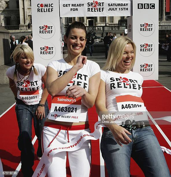 Zoe Lucker Kirsty Gallacher and Kate Thornton cross the finish line in Trafalgar Square to launch Sport Relief on May 3 2006 in London England Sport...