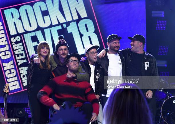Zoe Manville John Gourley Eric Howk Kyle O'Quin Jason Sechrist and Zachary Scott Carothers of 'Portugal The Man' onstage at Dick Clark's New Year's...