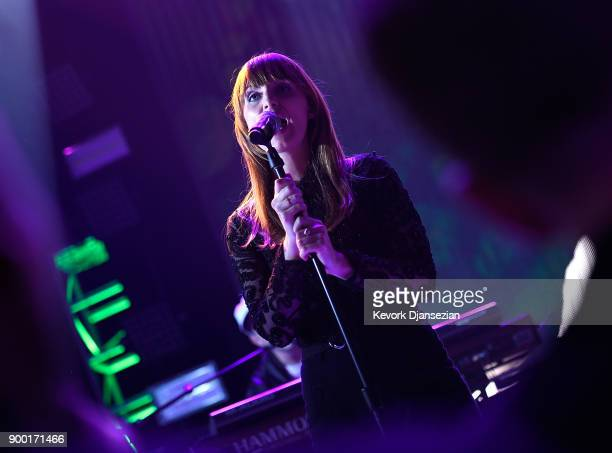 Zoe Manville of 'Portugal The Man' performs onstage at Dick Clark's New Year's Rockin' Eve with Ryan Seacrest 2018 on December 31 2017 in Los Angeles...