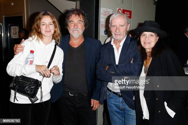 Zoe Marchal her father Actor Olivier Marchal Actor Geoffroy Thiebaut and Actress Fanny Bastien attend 'Sans Moderation' Laurent Gerra's Show at...
