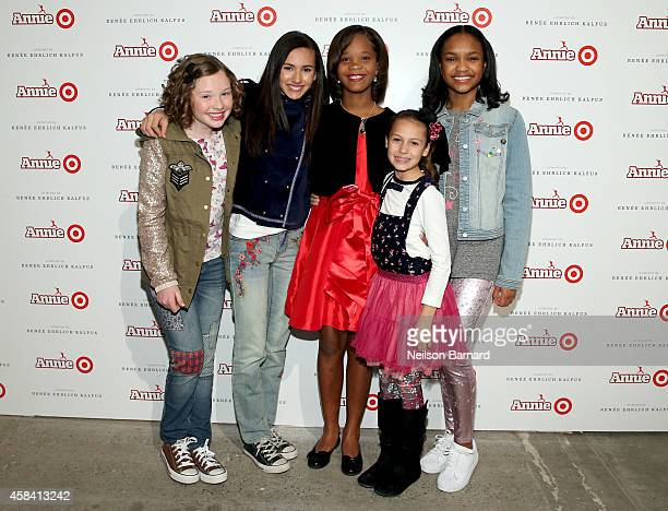 Zoe Margaret Colletti Amanda Troya Quvenzhane Wallis Nicolette Pierini and Eden DuncanSmith attend Annie For Target launch event at Stage 37 on...